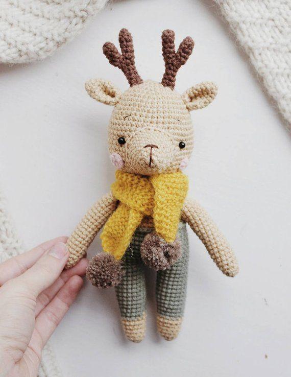 Crochet Reindeer Pattern Christmas Reindeer Amigurumi Deer Pattern