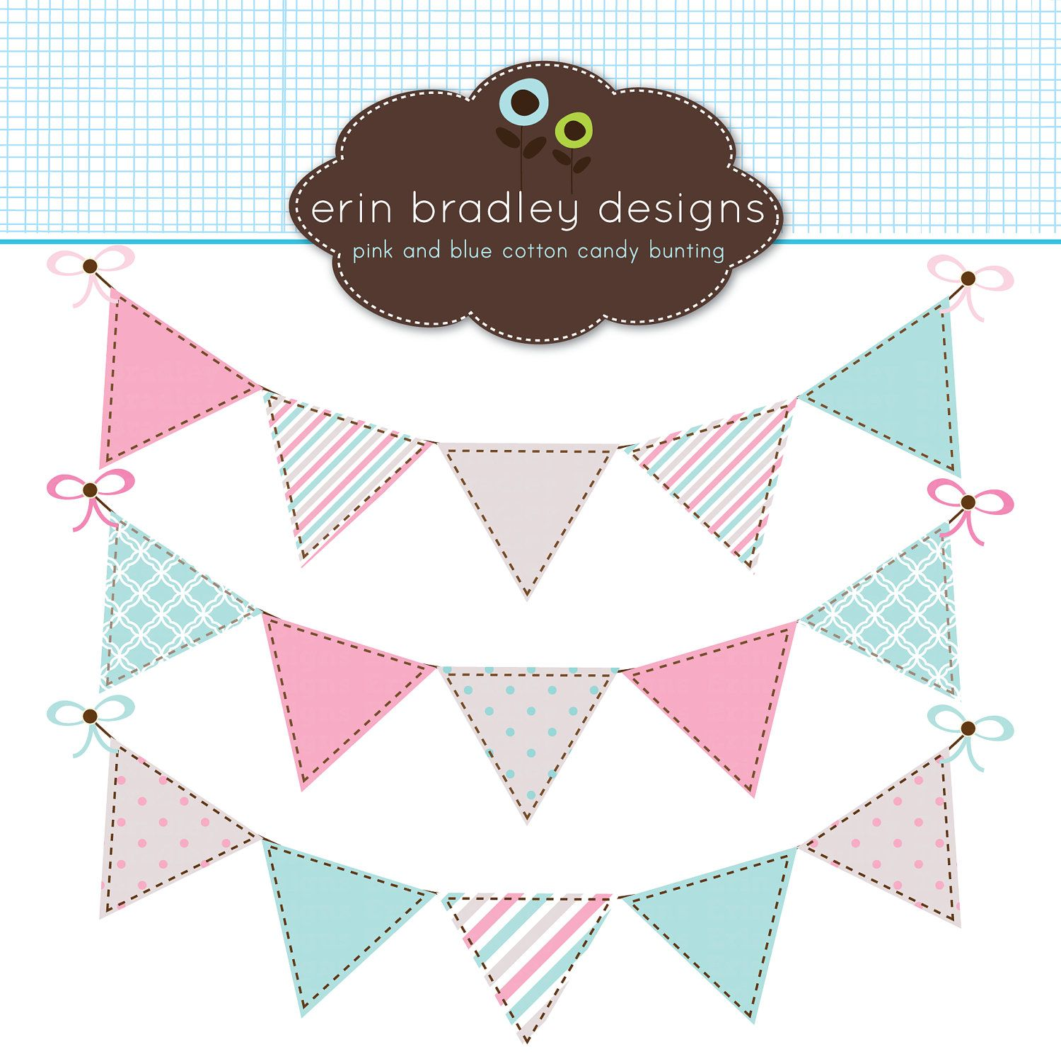 Digital Clipart Graphics Pink and Blue Bunting Flags ...