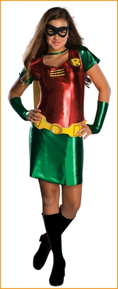 Tween Girlu0027s Teen Titans Robin Halloween Costume HalloweenCostumes4u.com $52.25  sc 1 st  Pinterest : robin costume for teens  - Germanpascual.Com