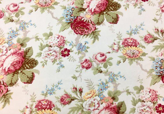 Cottage Chic Floral Upholstery Fabric by the Yard