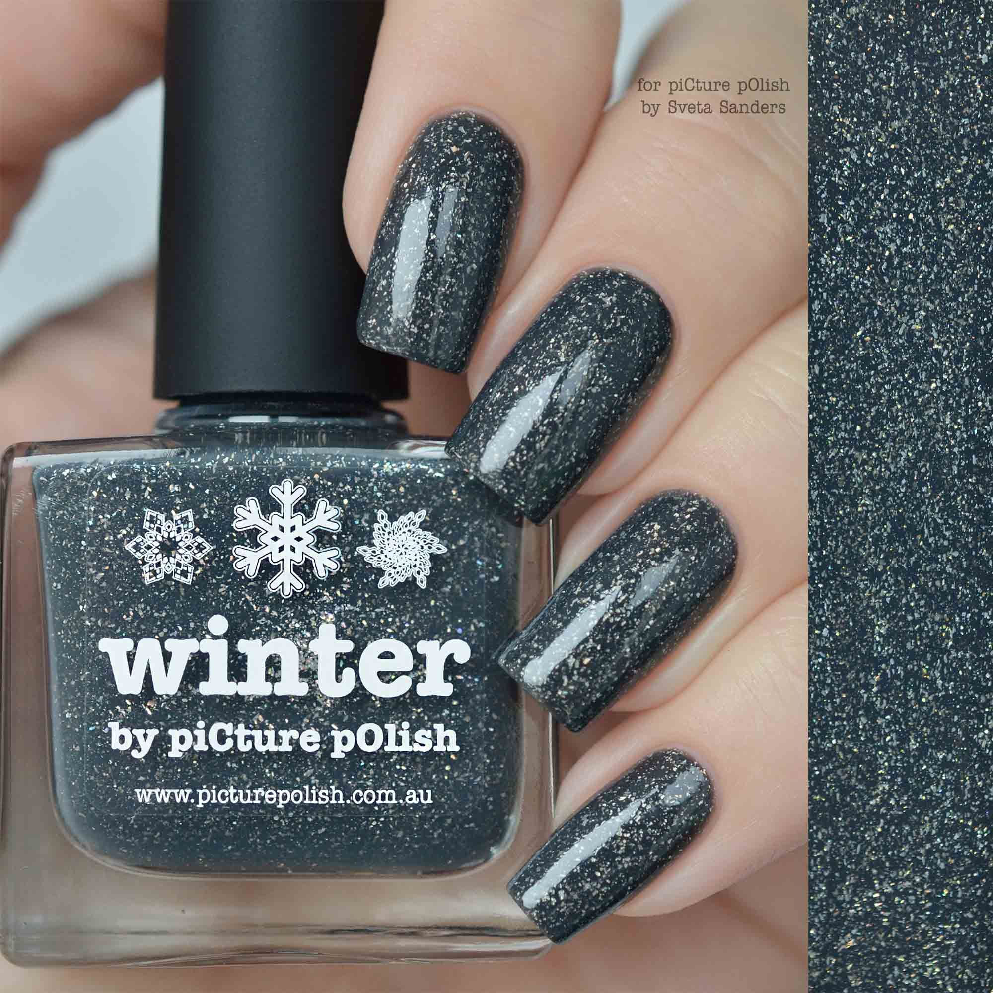piCture pOlish = NEW \'Winter\' a stunning grey scatter holo worn here ...