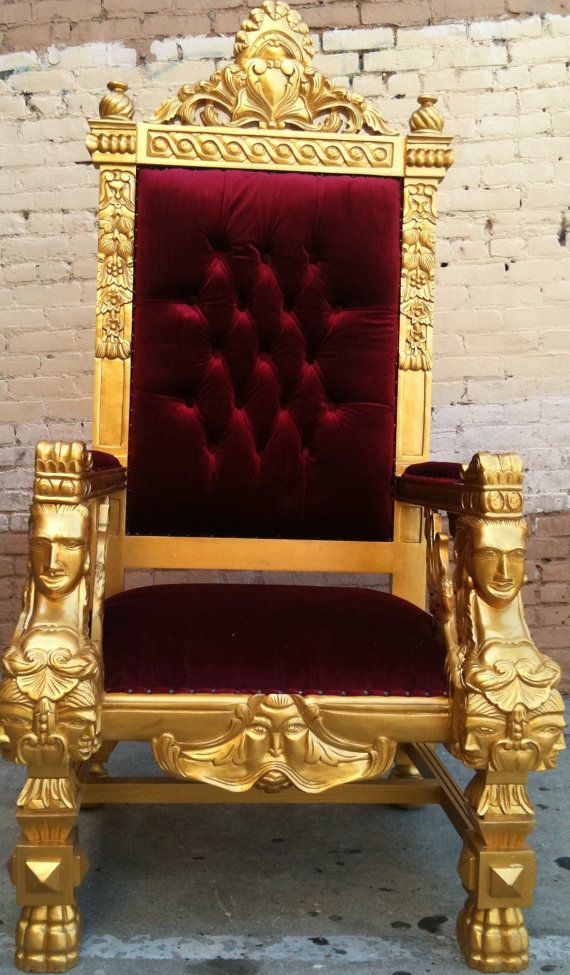 Gold  Blood Red King Ralphs Chair Queen Throne by