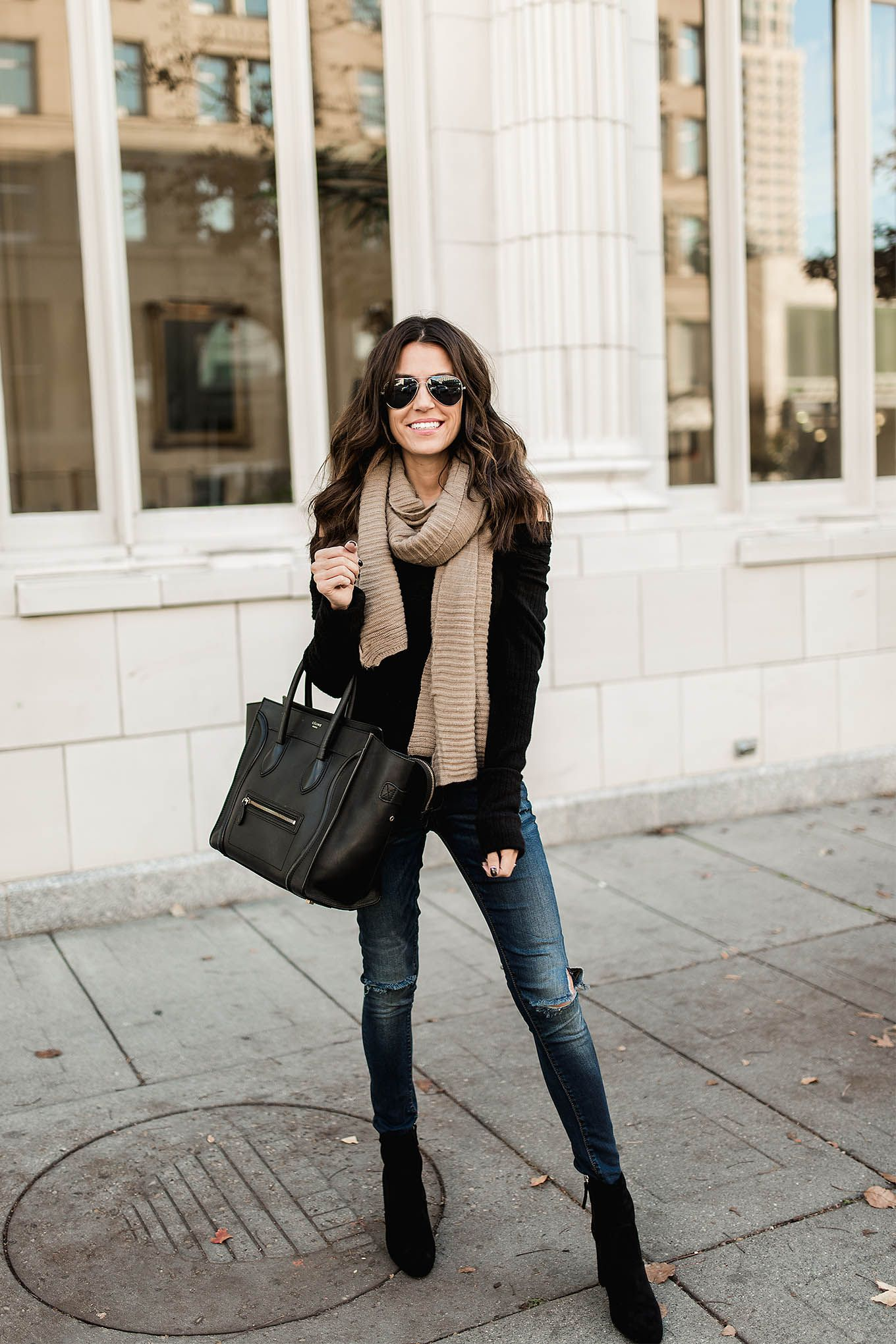 ec769fbb24 Black off the shoulder sweater+distressed denim+black ankle boots+black  tote bag+beige scarf+aviator sunglasses. Fall Casual Outfit 2016. 3 Ways to  Style ...