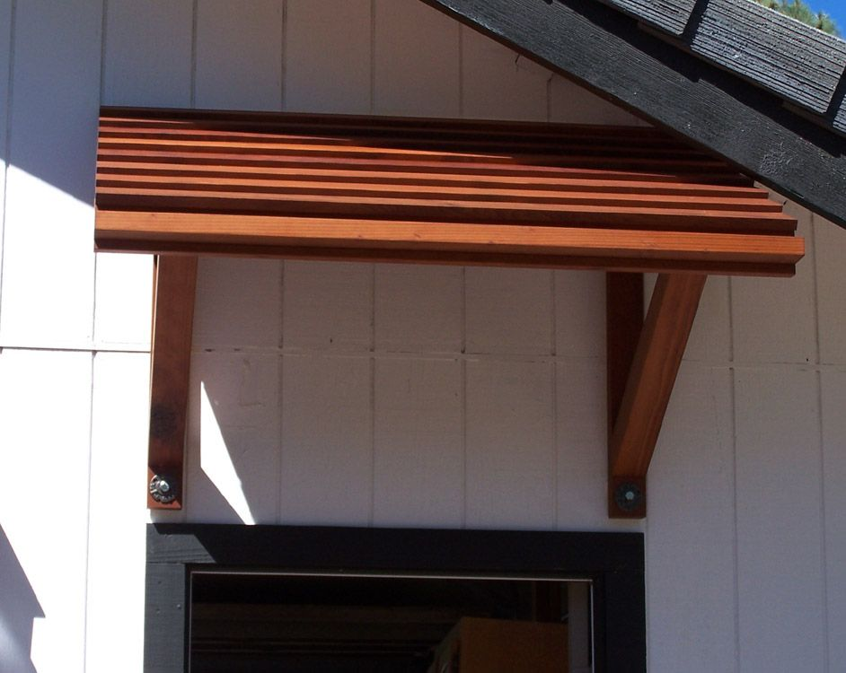 Wood porch awnings placerville cabinets outdoor for Porch canopy plans
