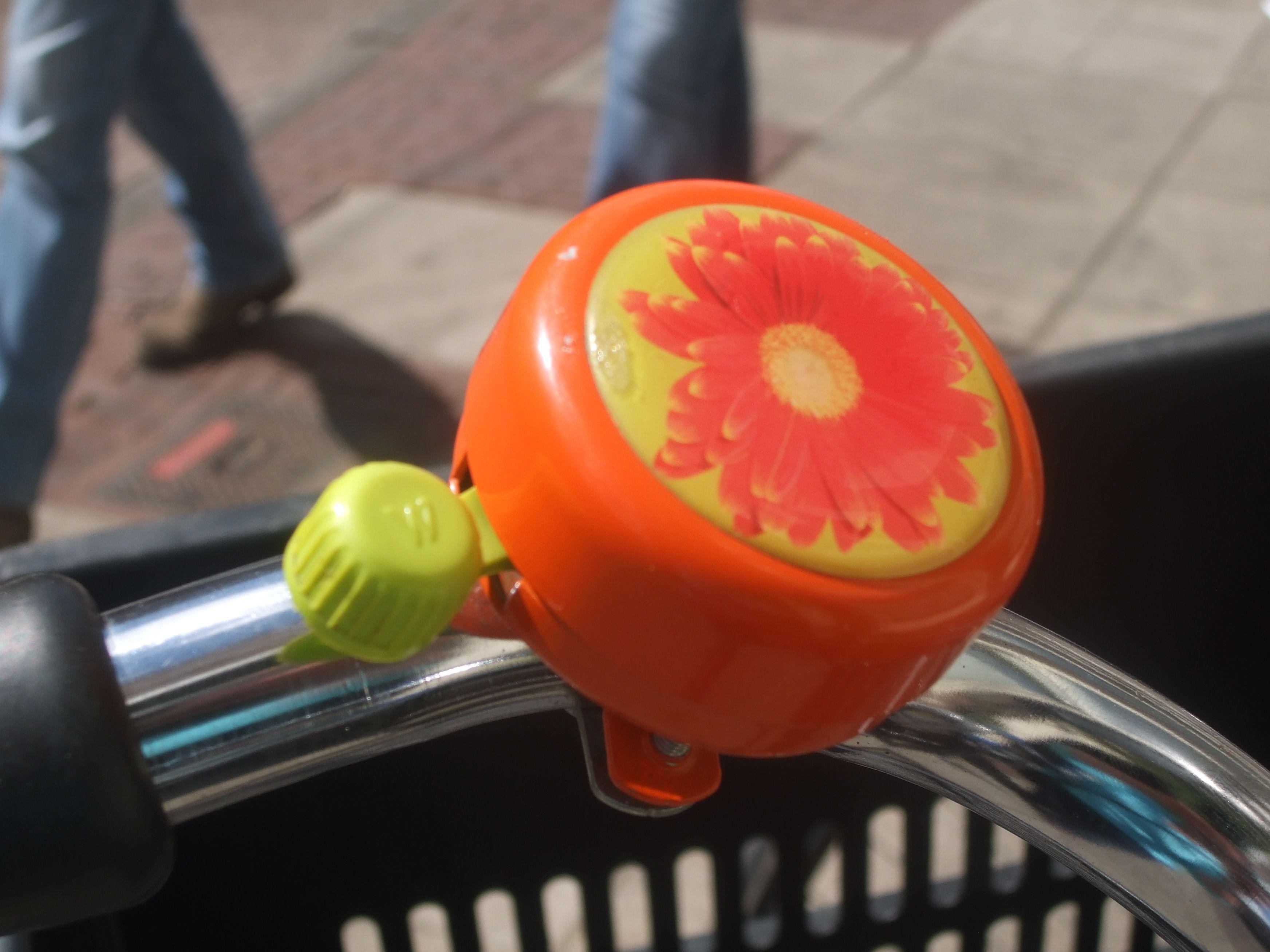 Orange Bike Bell With Flower Pattern Bike Bells In The