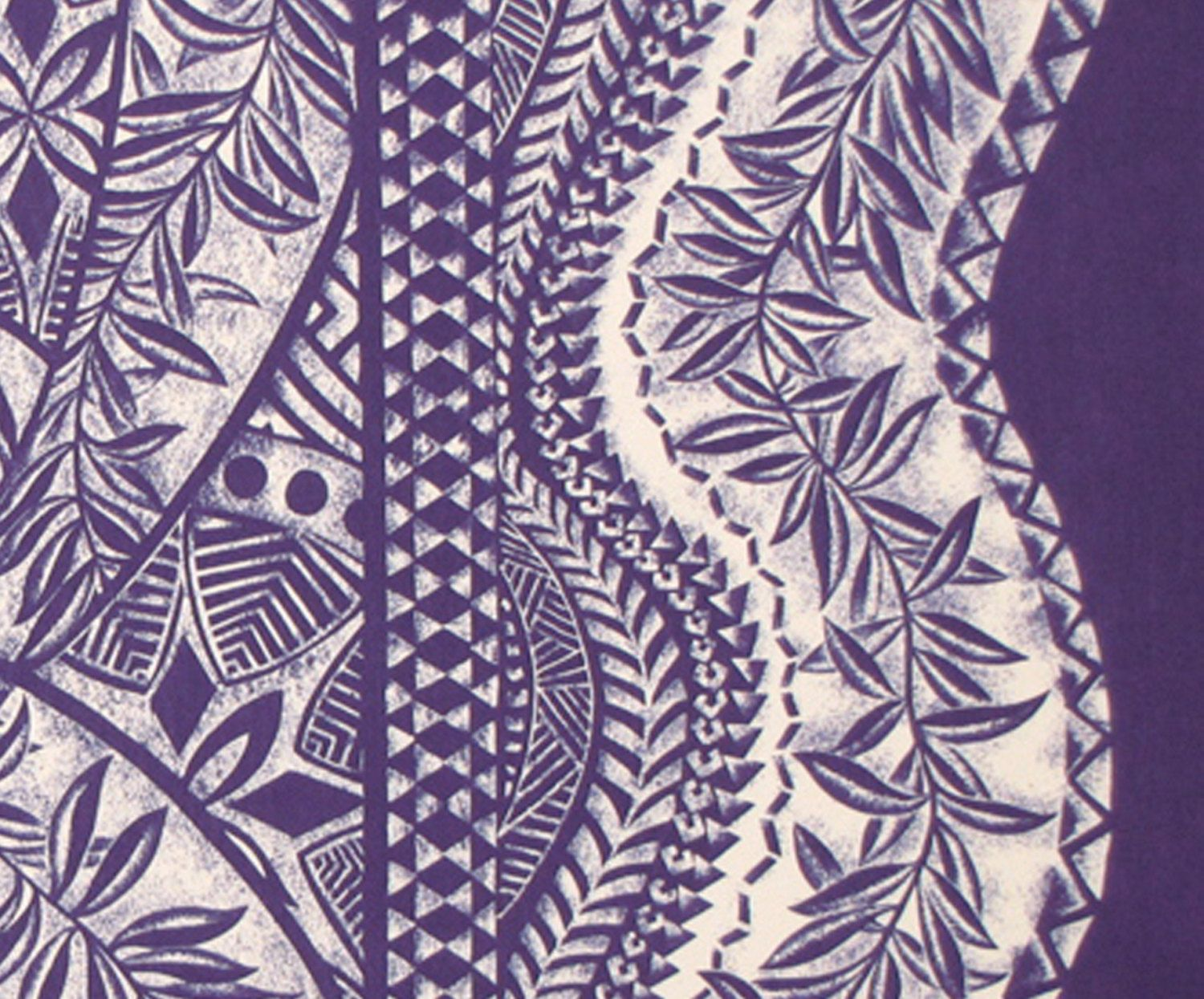 Traditional tapa patterns and tropical floral; Learn more ...