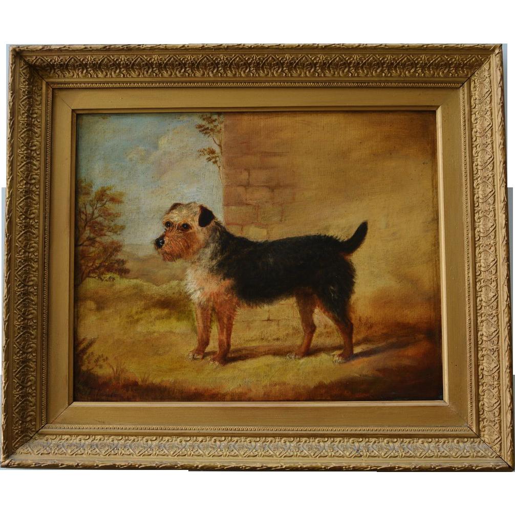 Antique Dog Oil Painting C1845 - Terrier Bendor