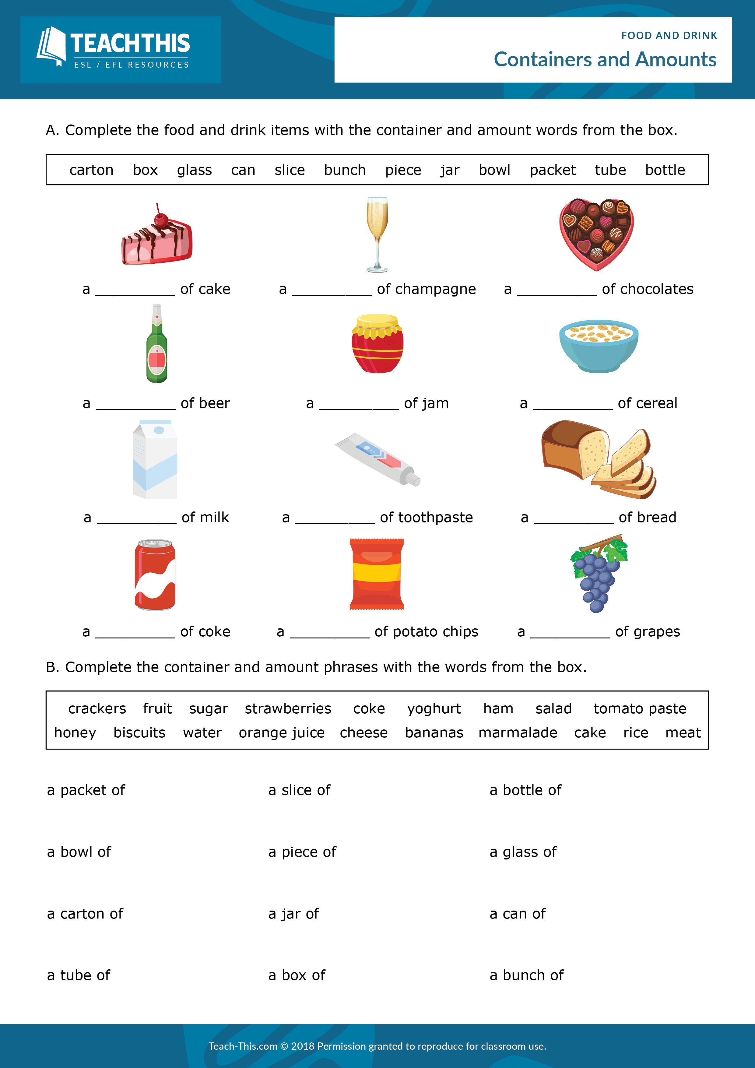 Food and Drink English teaching materials, English