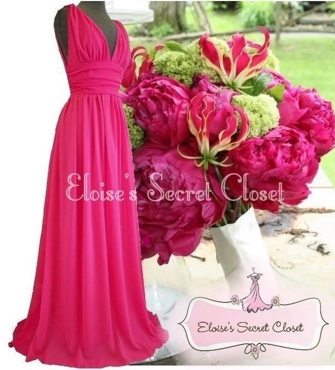 BNWT GRECIAN Hot Pink Fuchsia Chiffon Maxi Prom Evening Bridesmaid Dress 8 - 18
