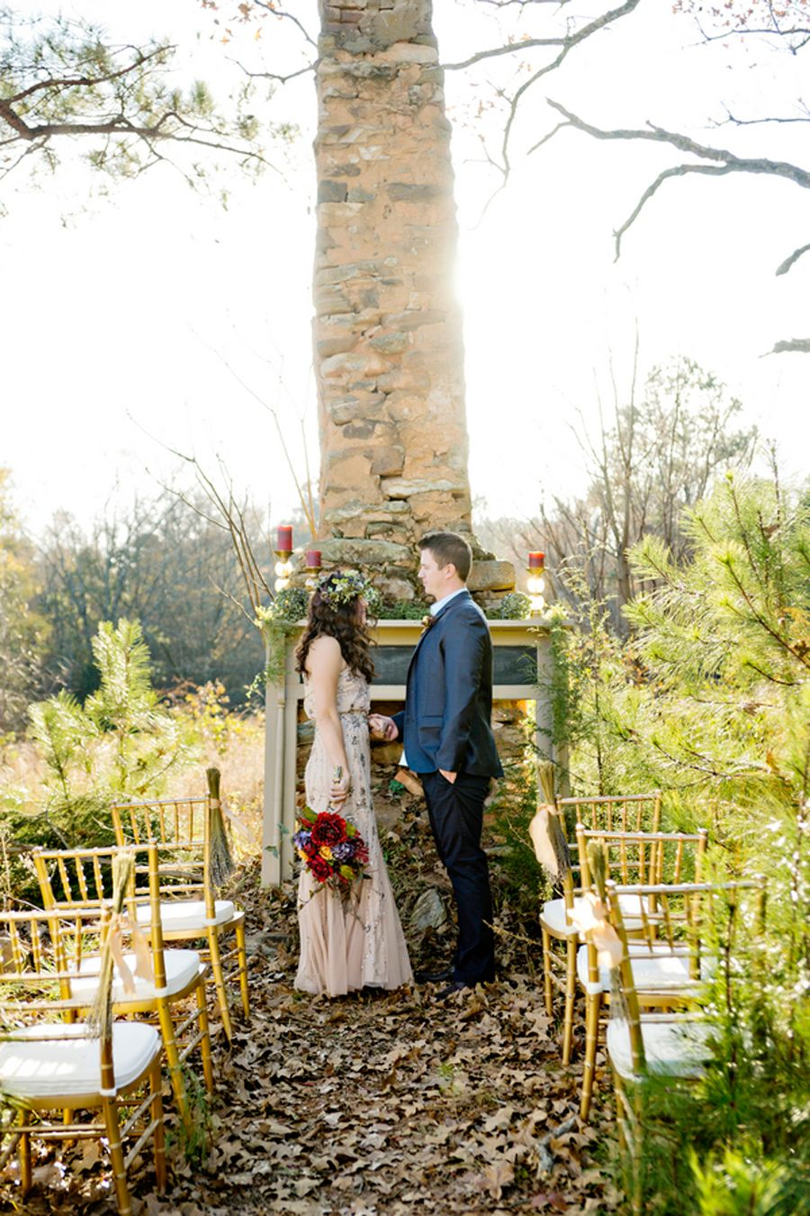 Fall outside wedding decoration ideas  Boho glam inspired outdoor fall wedding ideas Photography by Andie