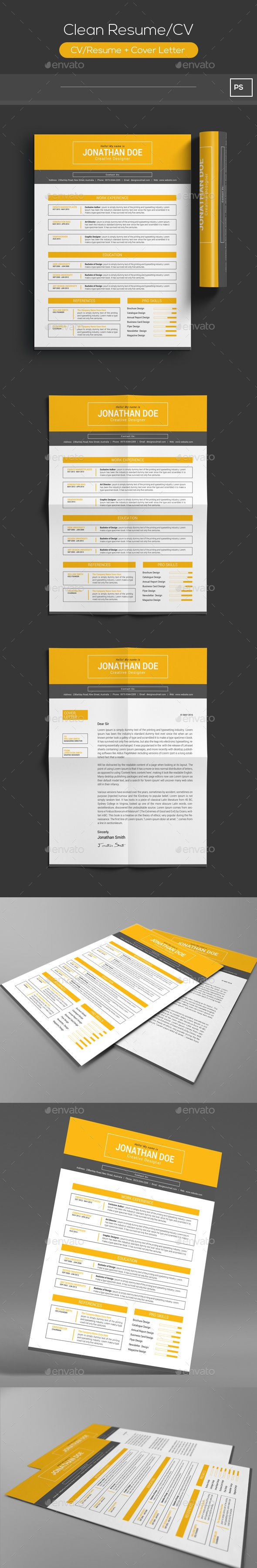 Clean Resume CV Template PSD Download