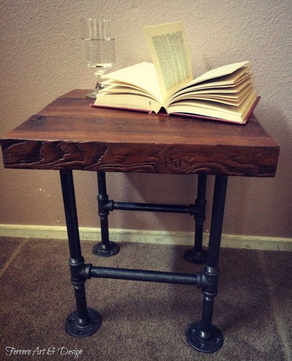 Reclaimed Barn Wood & Industrial Pipes Side Table Nightstand ...