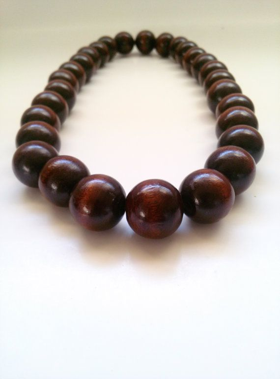 Mens Large Wood Bead Necklace Mens Dark Brown By Absynia On Etsy