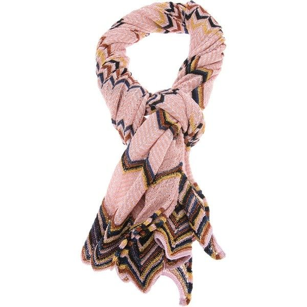 MISSONI zigzag scarf ($155) ❤ liked on Polyvore featuring accessories, scarves, missoni shawl, knit scarves, pink shawl, missoni and pink scarves