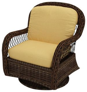 leona wicker patio swivel glider chair gold cushions
