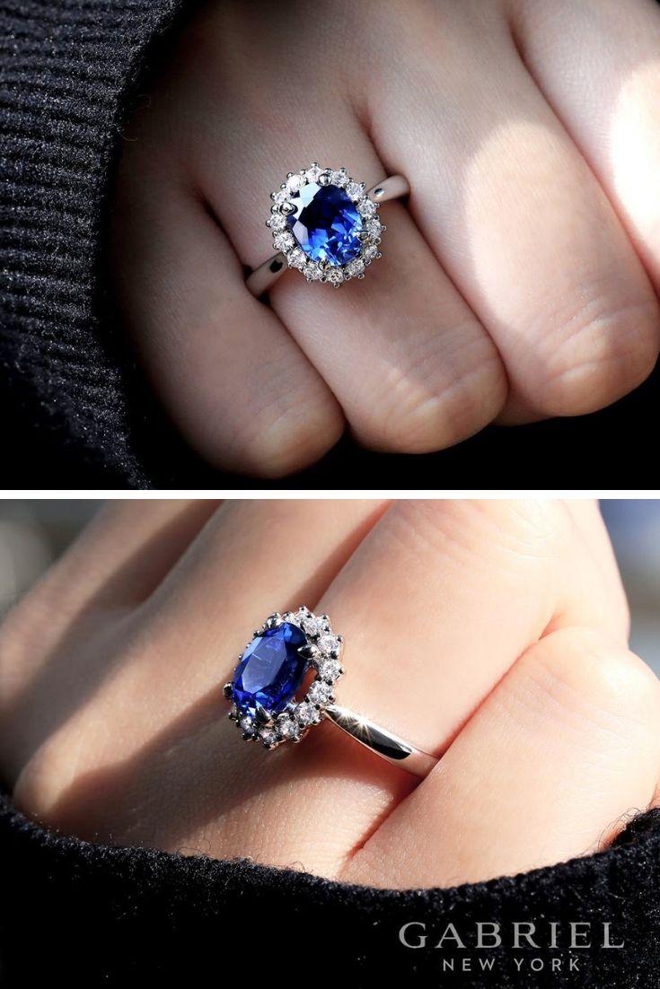 14k White Gold Oval Halo  ER914472O6W44JJ CSSA - Sapphire engagement ring blue, Blue engagement ring, Engagement rings sapphire, Vintage engagement rings, Best engagement rings, Big engagement rings -