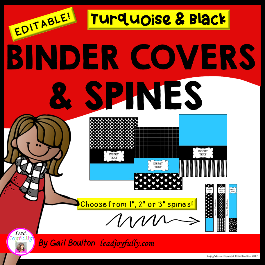 EDITABLE Binder Covers & Spines (Turquoise & Black Designs