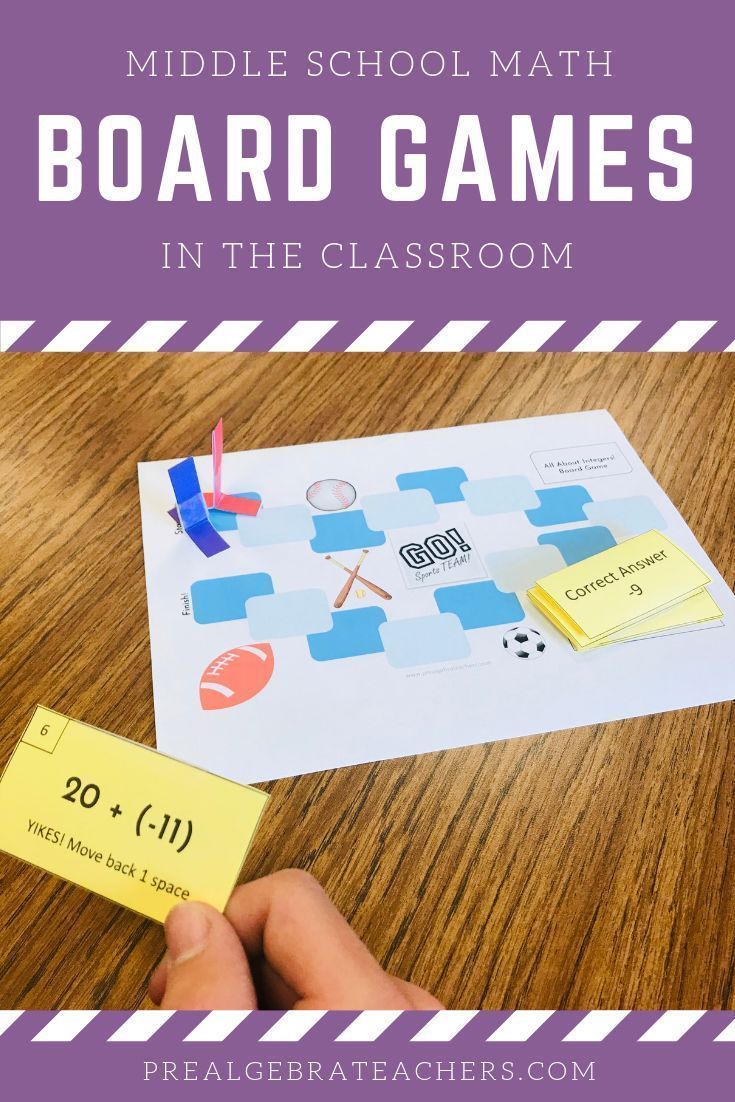 Board games in the middle school math classroom math