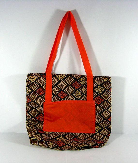 Orange and brown Ethnic design Tote Bag
