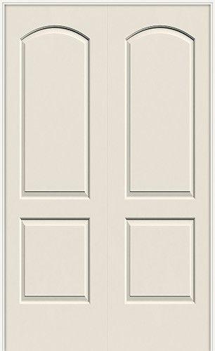 6 8 2 panel arch molded interior prehung double door unit misty