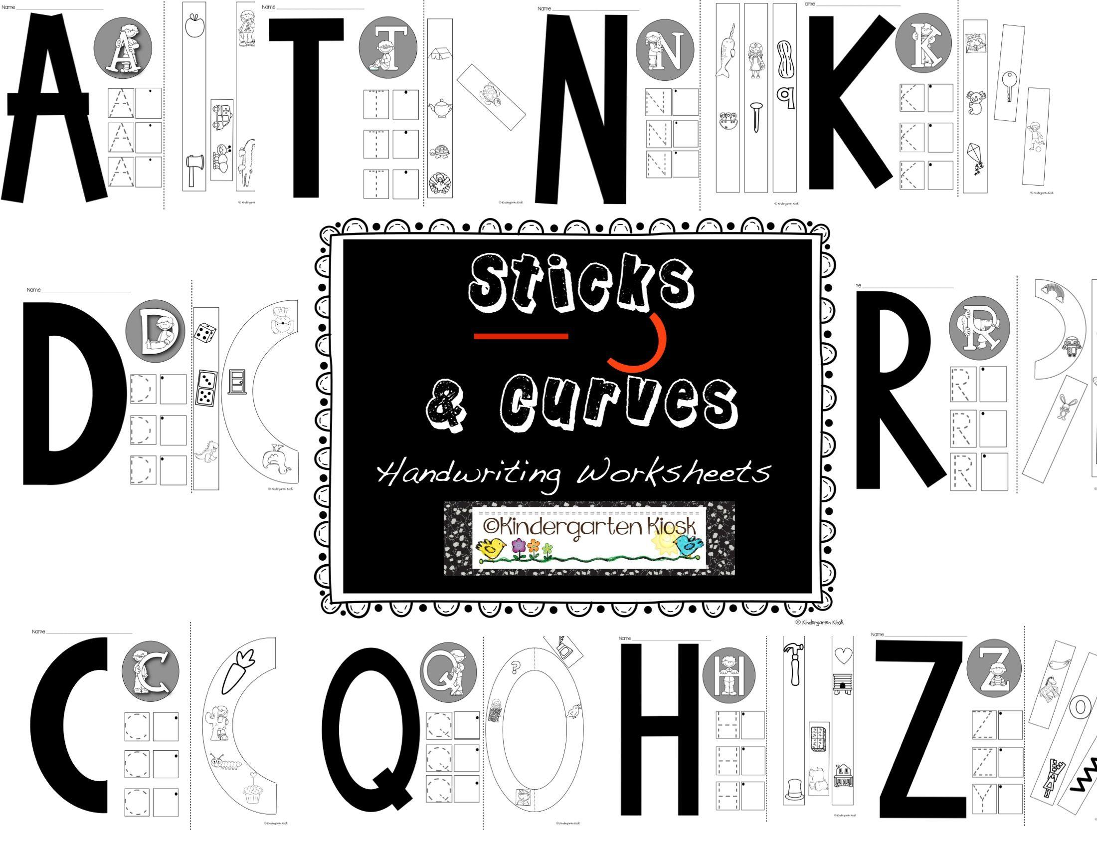 Sticks And Curves Developmental Handwriting Worksheets