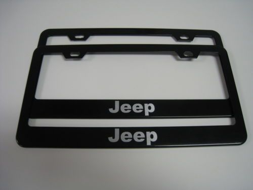 Chrysler SRT 8 Black Coated Metal License Plate Frame Holder