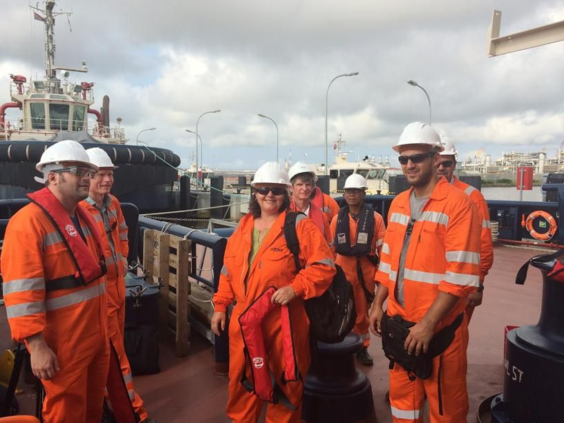 Film crew with Seafarers at Svitzer base, Soyo, Angola