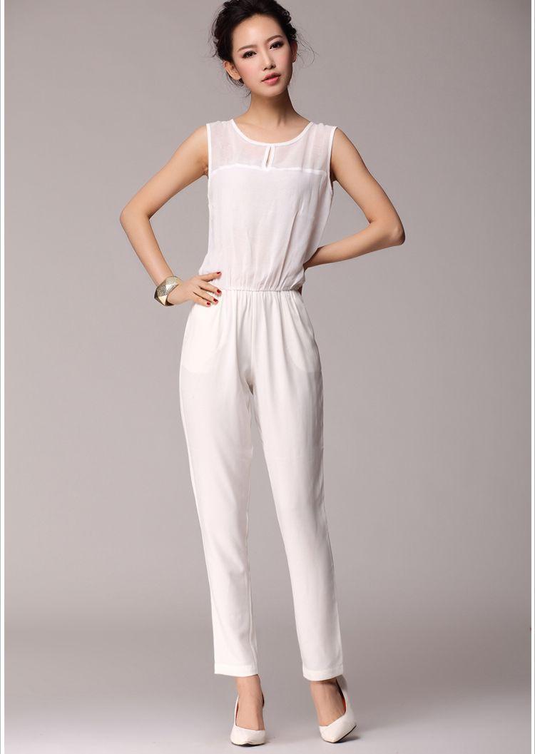 S1456 casual chiffon jumpsuit-white