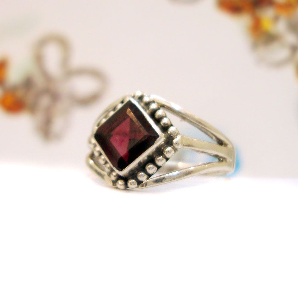 925#Sterling#Silver#India#Garnet#Natural#Gemstone#Design#Ring#Free ...
