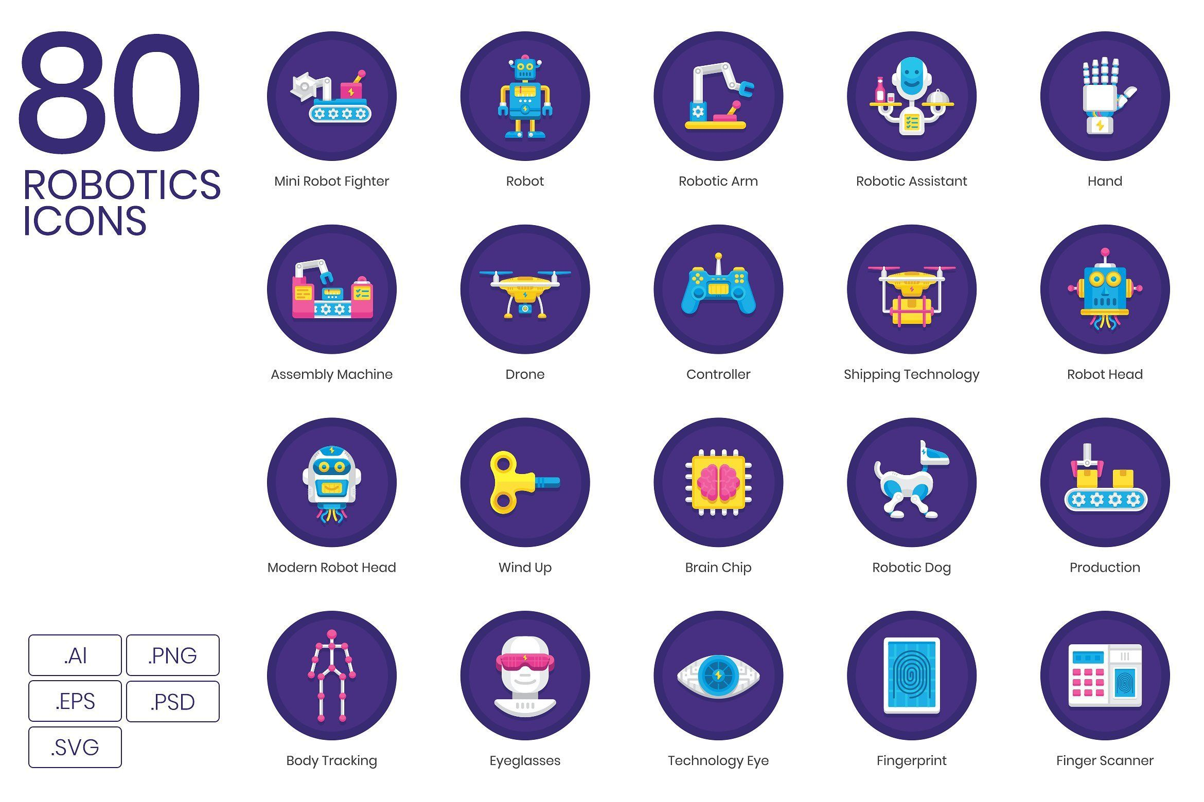 Robotics Technology Icons Orchid (With images
