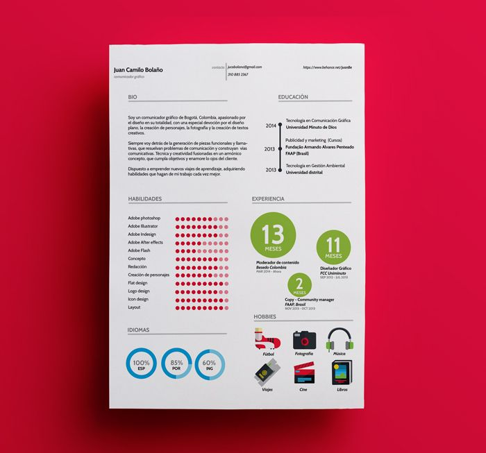 Free Template  Juan Resume On Behance Ai Id  Cv Resume