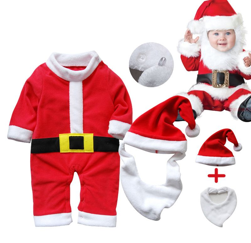 Baby Boys Girls Christmas Santa Claus Costume Long Sleeve Romper Hat Outfits