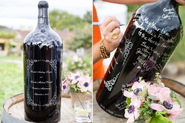 Guest Book Idea An Engraved Wine Bottle