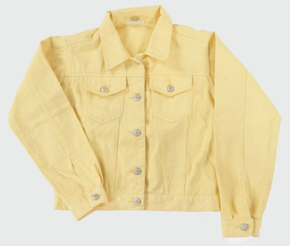 Vintage Lemon Yellow Denim Jacket Age 12 By Peachandlovevintage 20 00 Yellow Denim Clothes Vintage Outfits