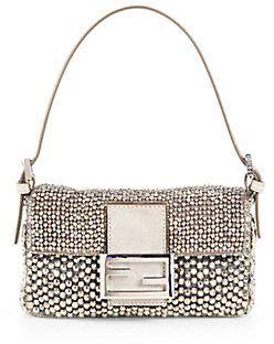 ee658e7ff025 Fendi Beaded Mini Baguette Shoulder Bag