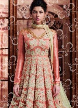 Ravishing Peach Sequins Work Banarasi Silk Long Choli Lehenga
