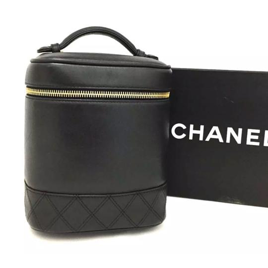 Chanel Makeup Vanity Case Quilted Black Lambskin Leather