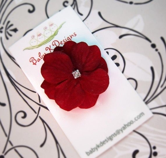 Contemporary Sweet Red Velvet Petite Bloom Baby Clip Girls Flower No Slip Mini Hair Clip by Baby K Designs Baby K Designs Top Design - bloom baby Minimalist