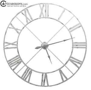 Extra Large Off White Contemporary Skeleton Metal Roman Numeral Wall Clock 110cm