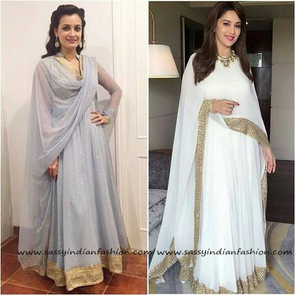648edae132 simple plain white anarkali dress   Celebrity Anarkali   Anarkali ...