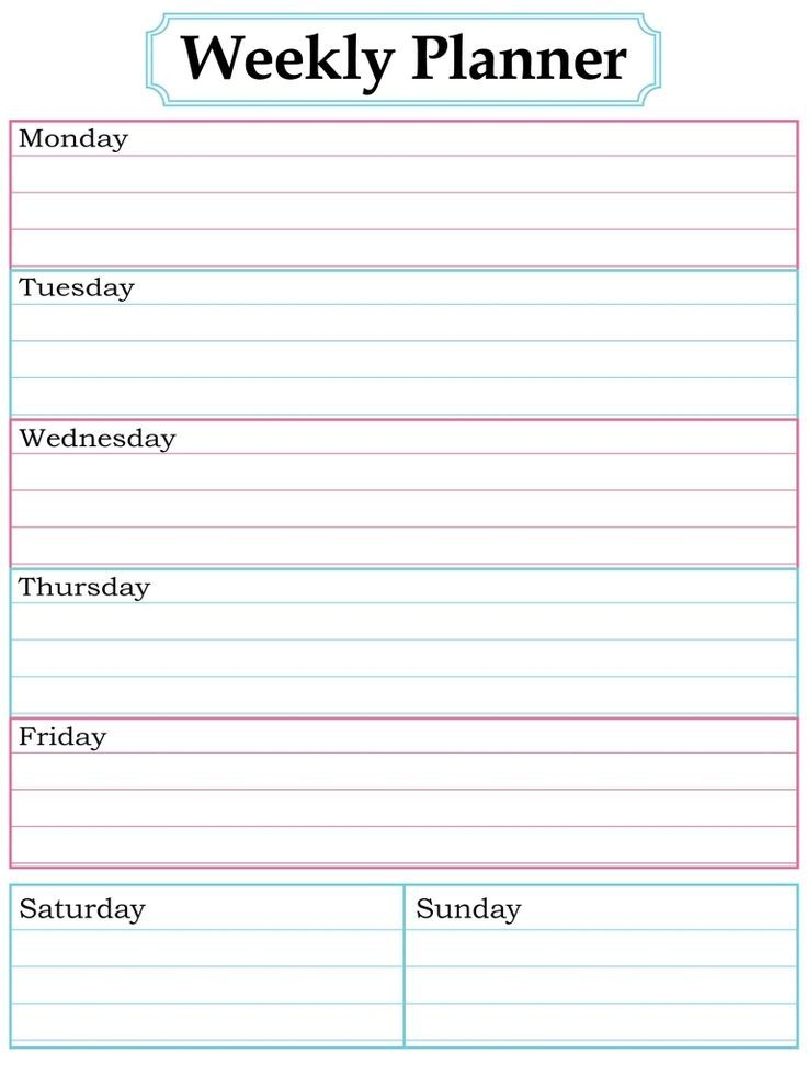 Image result for printable weekly calendar 2017 Cleaning