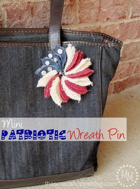 The Scrap Shoppe: Mini Patriotic Wreath Pin (HoH105) #fourthofjuly