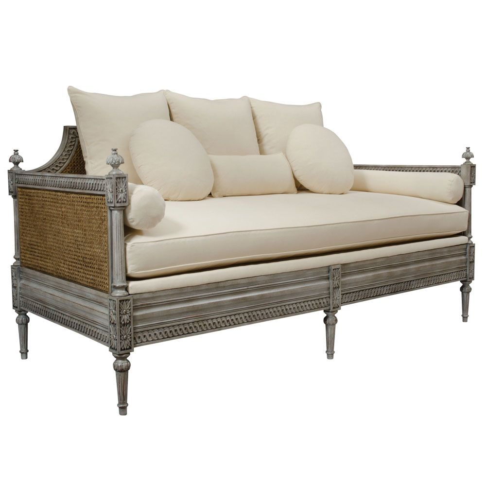 French Cane Sofa Daybed Vintage Music Room