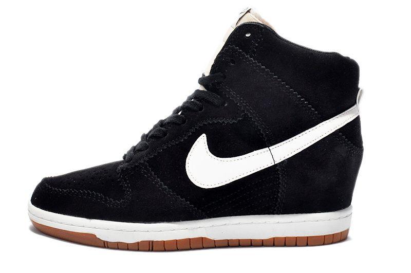 Sky Hi Women Nike Dunk Wedge Shoes Suede Black White