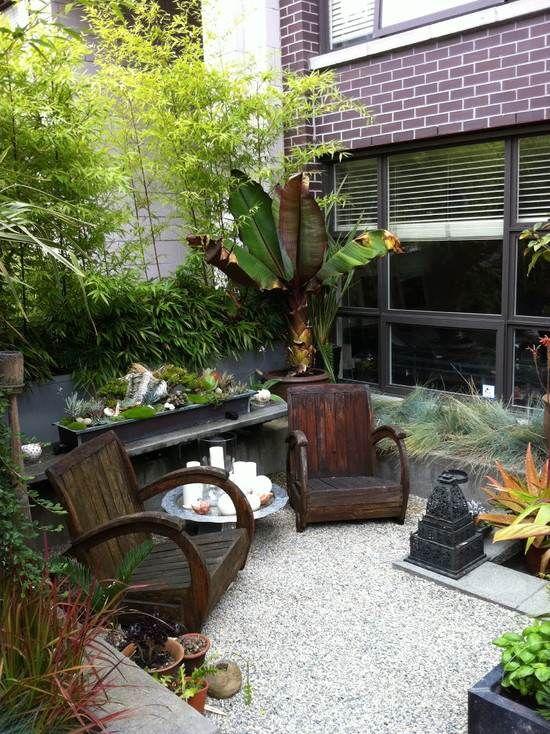 pequeñas diseño de jardines árboles de bambú muebles de patio al ...