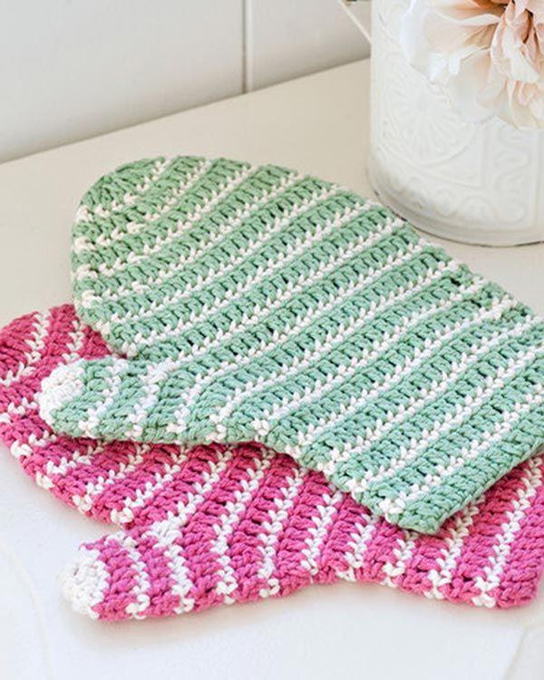 Best Free Crochet » Free Crochet Pattern Crochet Bath Mitt From ...