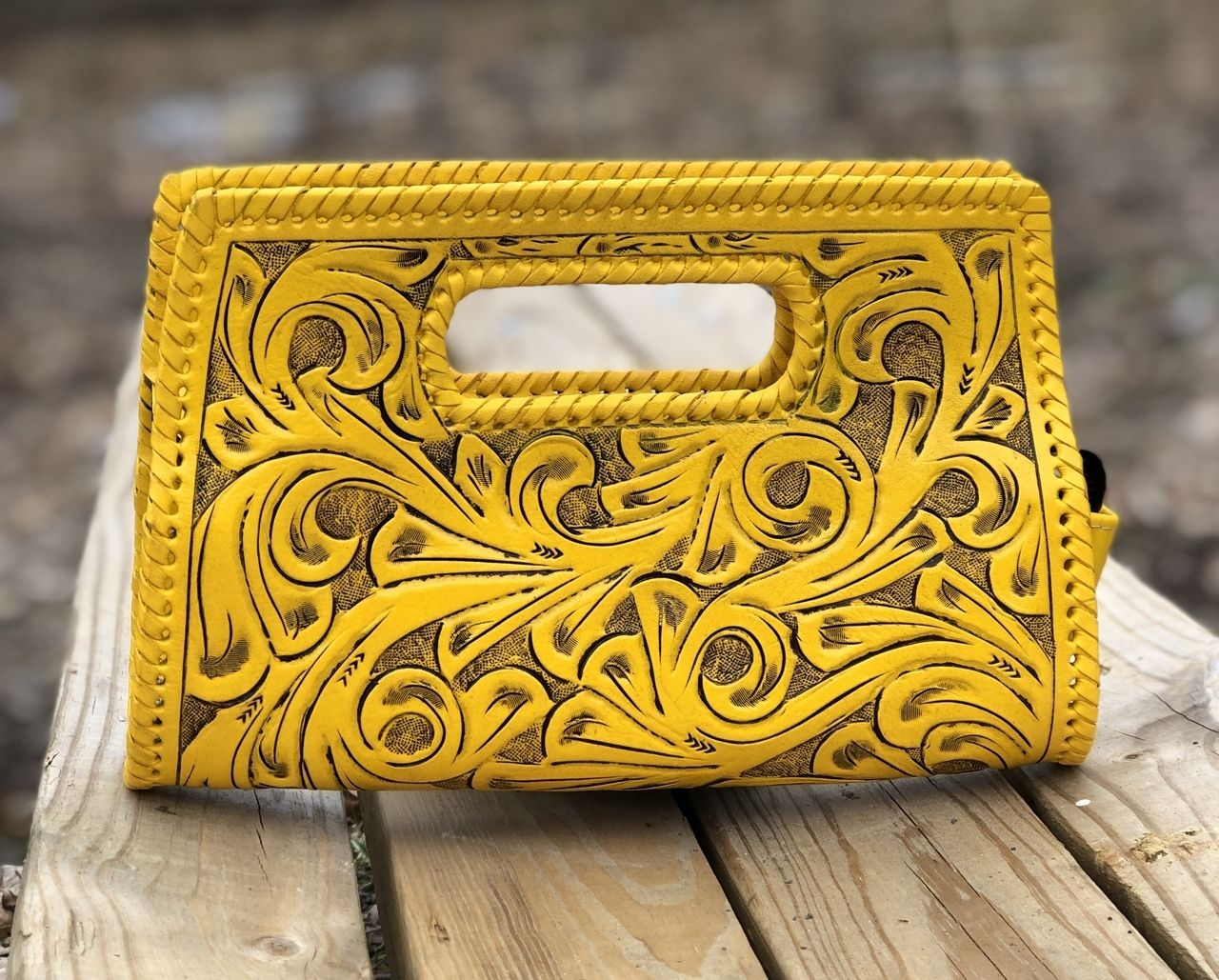 ad0835dd84 Only Designers Shop LLC - ALLE Small Envelope Hand-Tooled Leather Clutch,  $159.00 (