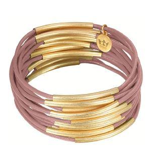 Deense Kroon sieraad genaamd Sence CPH Gipsy licht roze armband goud