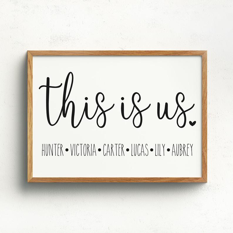 This Is Us Sign Personalized With Names Wall Decor Wall Etsy In 2020 Personalized Signs Name Wall Decor This Is Us