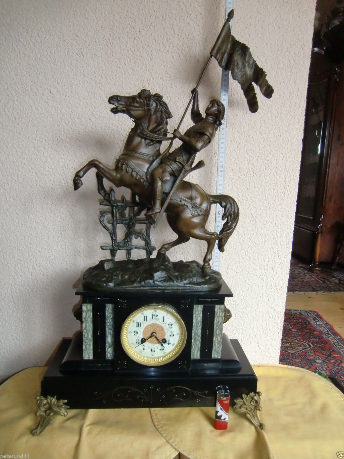 Franzosische Kaminuhr Sehr Grosse Uhr Mit Statue Von Joan D Arc 2 Helfte 19 Jh Ebay Kaminuhren Grosse Uhr Uhrideen